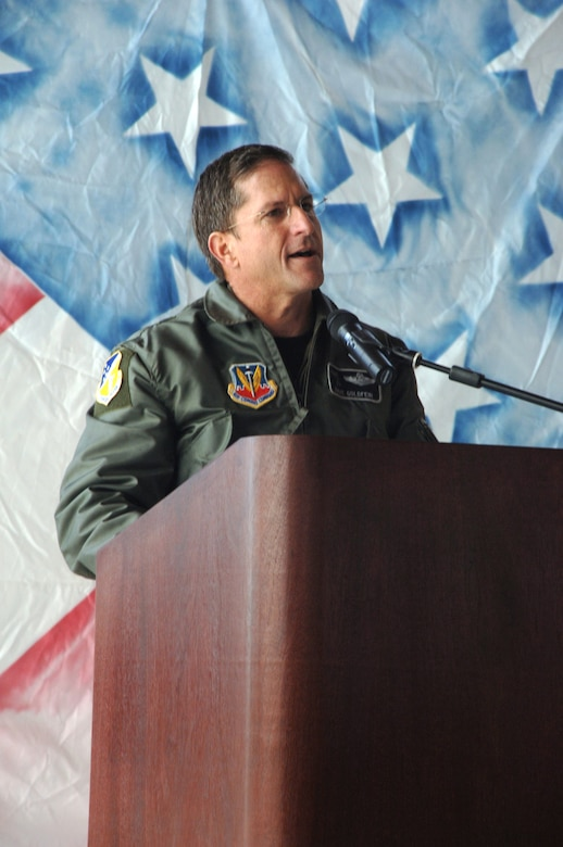 Brig. Gen. David Goldfein, 49th Fighter Wing commander, speaks at the retirement ceremony of the first six F-117A Nighthawks flying to Tonopah Test Range, Nev., March 12 (U.S. Air Force photo by Airman !st Class Tiffany Mayo)