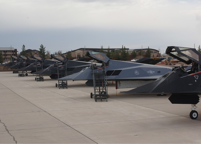 The first six F-117A Nighthawks are prepared for their final flight before taking off to Tonopah Test Range, Nev., March 12. (U.S. Air Force photo by Airman 1st Class John Strong)