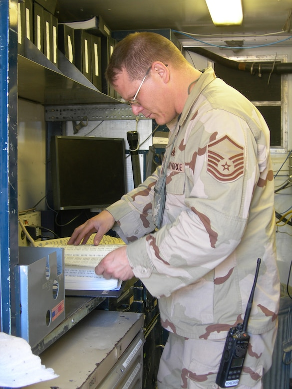 Balad Air Base, Iraq - Master Sgt. Ken Gaydos, radar maintenance shop Noncommissioned officer in charge, reviews a wire diagram listing while troubleshooting a AN/TPS-75 radar system at Balad Air Base, Iraq. Sergeant Gaydos is assigned to the 727th Expeditionary Air Control Squadron (EACS) and is deployed from the 728th Air Control Squadron at Eglin Air Force Base, Fla. Also known as Kingpin, the 727th EACS is responsible for maintaining positive control over aircraft operating in Iraq's 277,000 miles of airspace. (U.S. Air Force photo/Major Damien Pickart)
