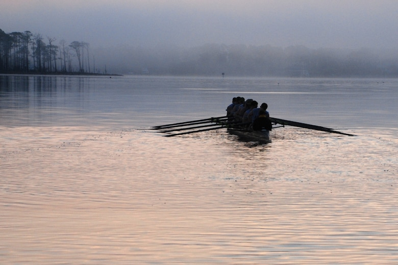 EGLIN AIR FORCE BASE, Fla. -- The fog rolls in over the water as the U.S. Military Academy Crew Team, West Point, N.Y., sets out from Postal Point during an early morning workout March 13 in Choctawhatchee Bay. The team is split up into four squads: men's varsity and novice, and women's varsity and novice. The team is here during their spring break to practice in the warmer Florida temperatures. (U.S. Air Force photo by Staff Sgt. Mike Meares)