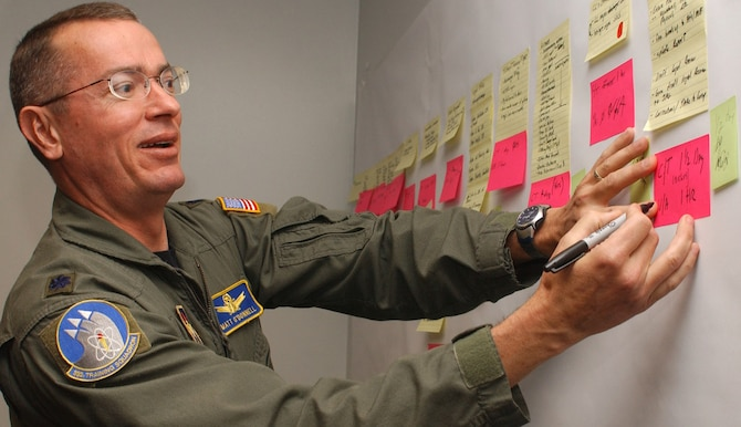 Colonel O'Donnell adds a note to the value stream map for the process.
