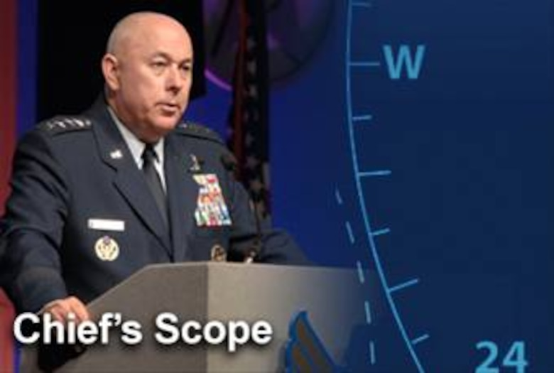 The Chief's Scope is designed to briefly highlight current topics Air Force Chief of Staff Gen. T. Michael Moseley feels are important to America's Airmen. (U.S. Air Force illustration/Mike Carabajal)