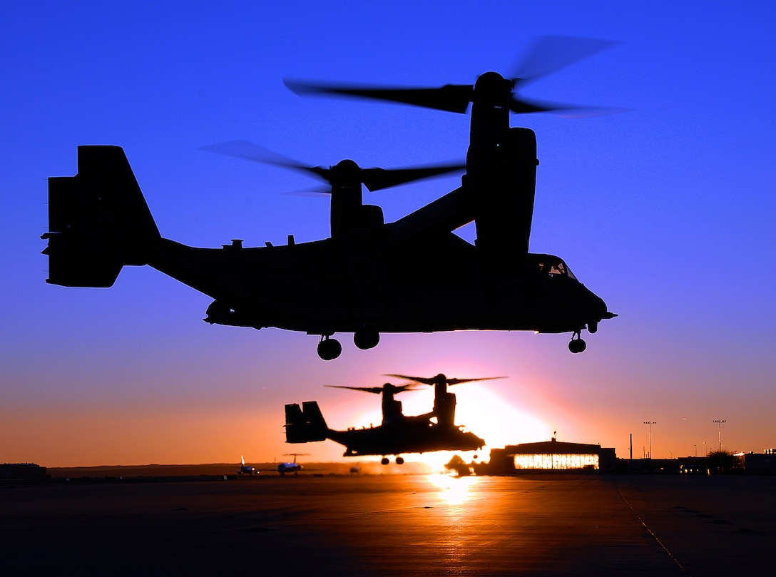 Two CV-22 Osprey aircraft, assigned to the 71st Special Operations Squadron, part of the 58th Special Operations Wing, take off en-route to a night training mission Tuesday here. The units train mission-ready special operations, combat search and rescue and missile site support airlift crews directly supporting Air Expeditionary Forces. The Osprey is the newest addition to the Air Force aircraft inventory and is designed to be used for special operations missions. (U.S. Air Force photo by Staff Sgt. Markus Maier)