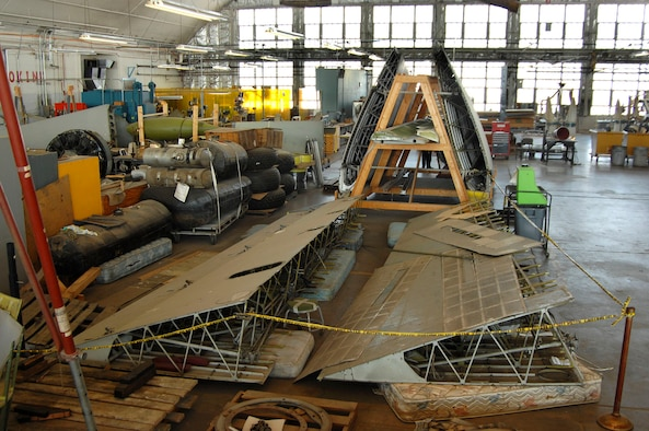 """DAYTON, Ohio (02/2007) - Parts of the """"Memphis Belle"""" in the restoration area of the National Museum of the U.S. Air Force. (U.S. Air Force photo by Ben Strasser)"""