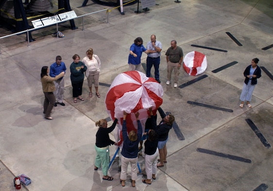 DAYTON, Ohio -- Teachers launch a hot air balloon during a Project SOAR workshop at the National Museum of the United States Air Force. (U.S. Air Force photo)