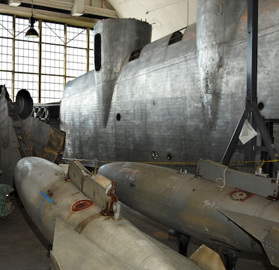 """DAYTON, Ohio (02/2007) - Part of the a wing from the """"Memphis Belle"""" in the restoration area of the National Museum of the U.S. Air Force. (U.S. Air Force photo by Ben Strasser)"""