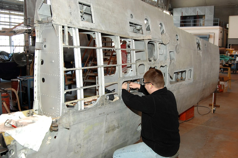 DAYTON, Ohio (02/2007) - Restoration Specialist Nick Almeter works on the Japanese George in the restoration hangar of the National Museum of the U.S. Air Force. (U.S. Air Force photo by Ben Strasser)