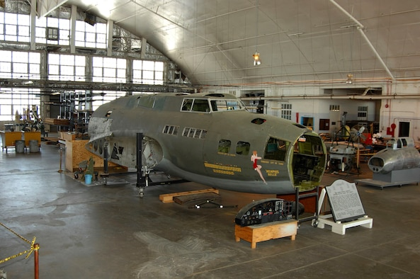 """DAYTON, Ohio (02/2007) - The B-17F """"Memphis Belle"""" in restoration at the National Museum of the U.S. Air Force. (U.S. Air Force photo by Ben Strasser)"""