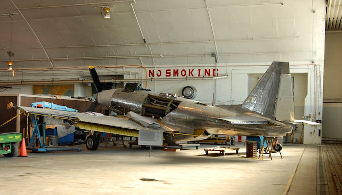 DAYTON, Ohio (02/2007) - Fisher P-75A Eagle undergoing restoration at the National Museum of the U.S. Air Force. (U.S. Air Force photo by Ben Strasser)