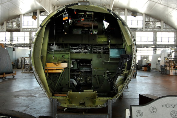 """DAYTON, Ohio (02/2007) - Interior fuselage of the B-17F """"Memphis Belle"""" in the restoration hangar at the National Museum of the U.S. Air Force. (U.S. Air Force photo by Ben Strasser)"""