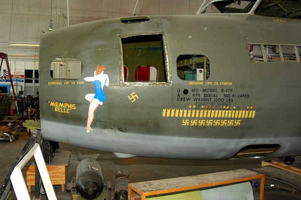 """DAYTON, Ohio (02/2007) - A close-up of the nose art of the B-17F """"Memphis Belle"""" while in the restoration area of the National Museum of the U.S. Air Force. (U.S. Air Force photo by Ben Strasser)"""
