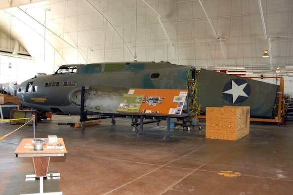 """DAYTON, Ohio (02/2007) - The B-17F """"Memphis Belle"""" undergoing restoration at the National Museum of the U.S. Air Force. (U.S. Air Force photo by Ben Strasser)"""