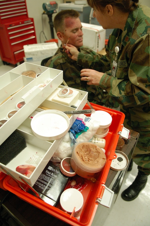 LAUGHLIN AIR FORCE BASE, Texas -- Moulage kits, like the one pictured here, include everything necessary to simulate almost any kind of injury, from minor scratches to objects imbedded in flesh.  Moulage is used to realistically simulate injuries for training medical personnel.  (U.S. Air Force photo by Staff Sgt. Austin M. May)