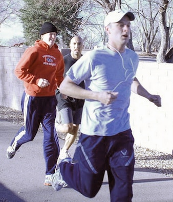 2nd Lt. Mark Morris, 377th Mission Support Squadron, wins the Tribute to Military Women 5k run on March 13. (Courtesy photo)