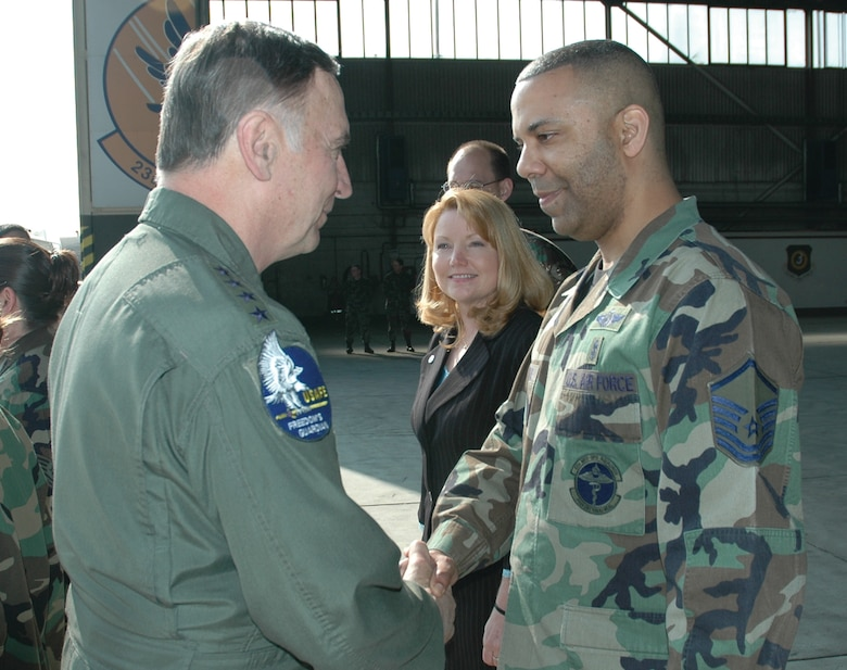 SPANGDAHLEM AIR BASE, Germany -- Gen. Tom Hobbins, U.S. Air Forces in Europe commander, meets Master Sgt. Marcus Thomas, 52nd Fighter Wing, while at Spangdahlem Air Base to shoot an American Forces Network commercial here March 15.