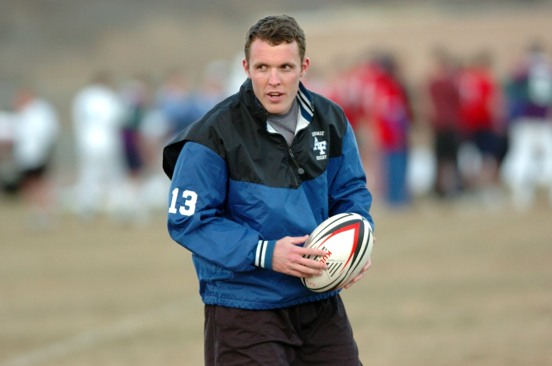 Cadet 2nd Class Marc Ward suffered a debilitating injury during a rugby game in 2003 in a game against the University of California at Berkeley. He lost full use of his right arm for six months, but has since made a full recovery and now coaches as part of the academy rugby team. (U.S. Air Force photo/1st Lt. John Ross)