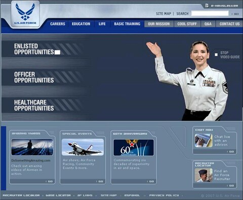 Master Sgt. Shiela Flinders, Air Force Recruiting Service Marketing Division broadcaster, serves as one of six virtual tour guides on the AIRFORCE.com Web site home page. The guides are designed to lend a personal touch to a Web site loaded with information for prospective recruits, parents, influencers and people wanting to find out more about the Air Force. (Courtesy graphic)