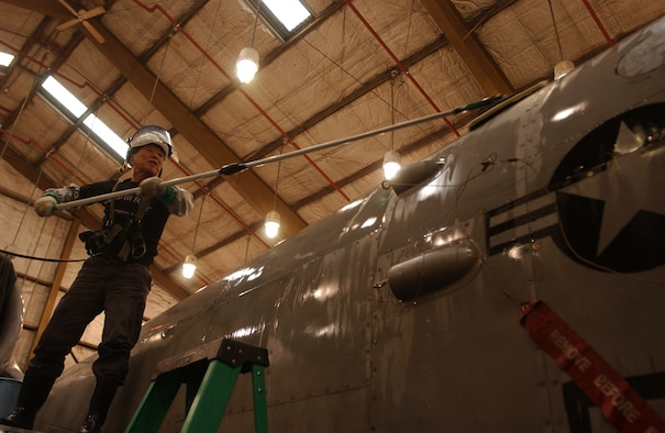 OSAN AIR BASE, Republic of Korea --  Mr. Yong U Sok, 51st Maintenance Squadron, washes an A-10 Thunderbolt March 16. Jets are washed every 90 days here to keep them from deteriorating. The amount of time that passes between washes is based on the environment where jets are stationed. For example, a jet that is stationed near sea water is washed more often than one that is in a dry climate. (U.S. Air Force photo by Airman Jason Epley)