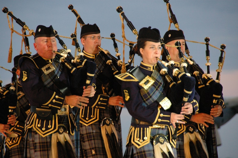 The Band of the United States Air Force Reserve Pipe Band performs traditional pipe music. U.S. Air Force photo by Sue Sapp