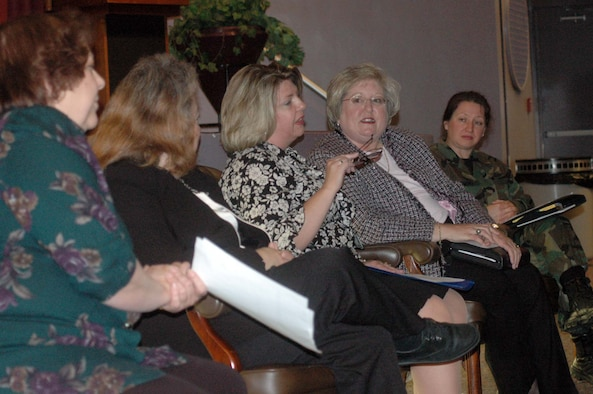Shelbie Purser, center, speaks at the senior leadership panel discussion Wednesday. The discussion was one of the Women's History Month events. The finale of the month-long celebration will be a luncheon Thursday in the officers' club ballroom from 11:30 a.m to 1 p.m. U.S. Air Force photo by Sue Sapp