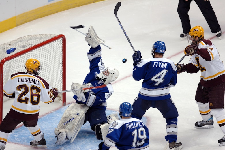 Hockey: Gophers ground Falcons' season in 3rd period rally