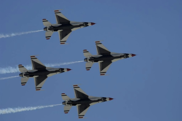 The U.S. Air Force Thunderbirds perform the diamond formation for the crowd March 16 at the 2007 acceptance show at Nellis Air Force Base, Nev. (U.S. Air Force Staff Sgt. Kenny Kennemer)