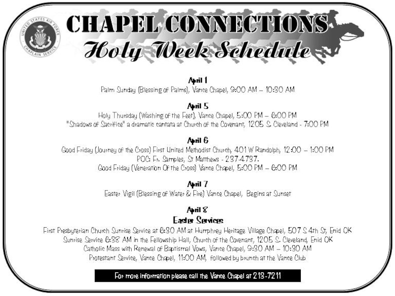 Chapel Connections - Holy Week Schedule