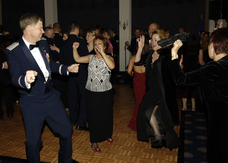 Members of the Air Force community dance the night away at the fourth annual Air Force Charity Ball March 24 at the Bolling Clubs. (U.S. Air Force photo by Donna H. Parry)