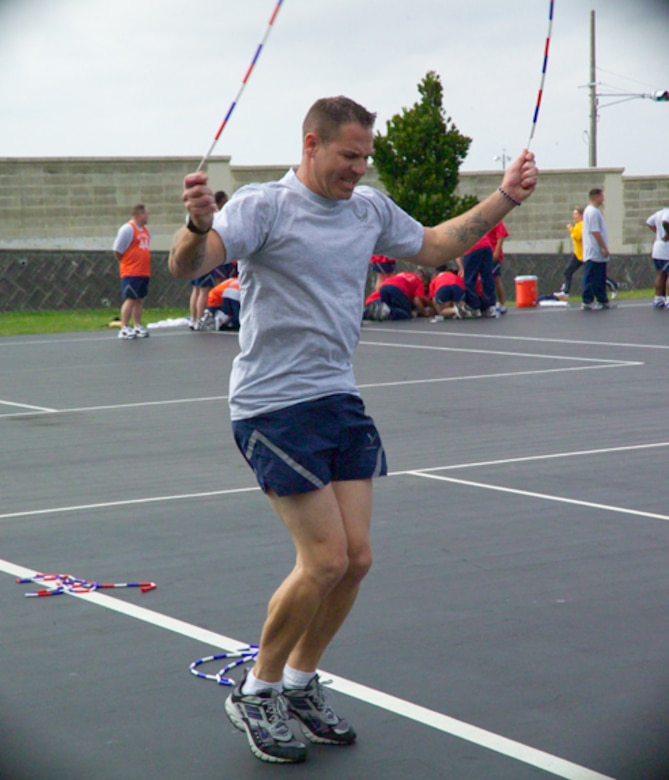 Tech. Sgt. Joseph Green of Kadena's 961st Airborne Air Control Squadron jumps rope backwards during the Olympiad. Sergeant Green is currently attending the NCO Academy as a member of Eagle flight.  (Air Force/Senior Airman Nestor Cruz)