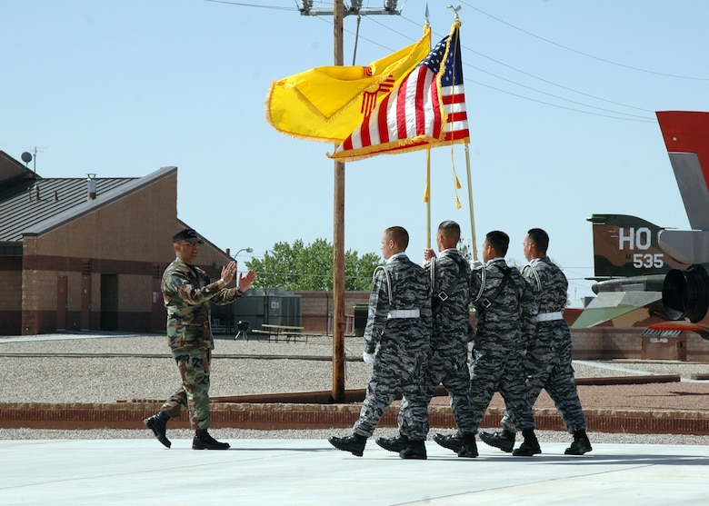 Master Sgt. Paul Sanchez, Steel Talons Honor Guard NCOIC, instructs students from Camp Sierra Blanca on Air Force Color Guard and other drill movements March 28. (U.S. Air Force photo by Airman Jamal Sutter)