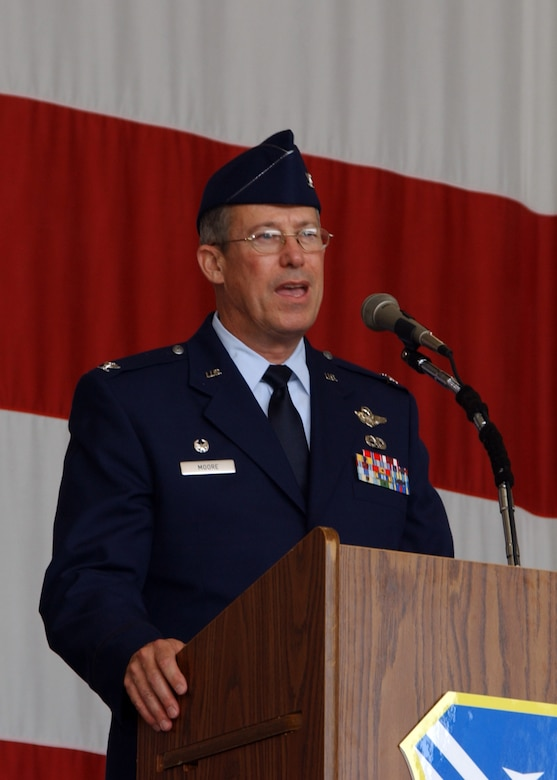 Brig. Gen. Thomas Moore, assumed command of the 116th Air Control Wing from Col. James Jones during a change of command ceremony March 23.  U.S. Air Force photo by Tech. Sgt. Mary Smith