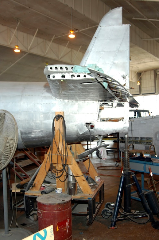 DAYTON, Ohio (02/2007) -- Japanese George tail section in the restoration area of the National Museum of the U.S. Air Force. (U.S. Air Force photo)