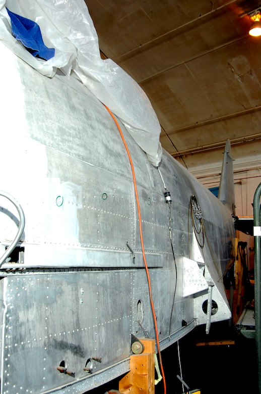 DAYTON, Ohio (02/2007) -- Japanese George fuselage in the restoration area of the National Museum of the U.S. Air Force. (U.S. Air Force photo)
