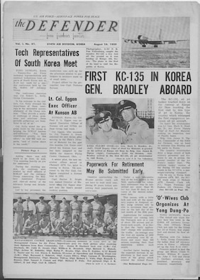 OSAN AIR BASE, Republic of Korea --  This is the front page from the Aug. 26, 1959 edition of The Defender. The Defender was the name of Osan's base newspaper until it changed to the MiG Alley Flyer in 1982.
