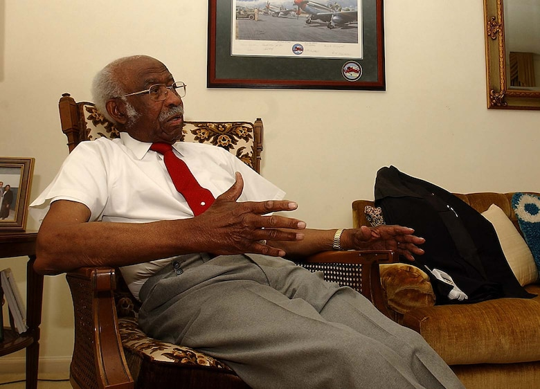 Leroy Bowman sits in his living room and talks about his time as a member of the historic and groundbreaking Tuskegee Airmen, March 27. Mr. Bowman, along with his fellow Tuskegee Airmen, was presented the Congressional Gold Medal in Washington D.C. March 29.   Mr. Bowman is a Sumter, S.C. native and a friend to Shaw Air Force Base. The Tuskegee Airmen join the ranks of other esteemed recipients such as President George Washington, Pope John Paul II and Sir Winston Churchill.  (Photo by Chris Moore/The Item)