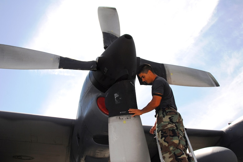 Staff Sgt. Nathan Roden inspects the propeller on an MC-130H Combat Talon II of the 15th Special Operations Squadron March 26 at Hurlburt Field, Fla. Air Force Special Operations Command dominated the 2006 Air Force safety award program, garnering the service's top awards for best major command safety record, most effective MAJCOM-level flight safety program, and best ground safety program. Sergeant Roden is a jet engine mechanic with the 1st Special Operations Aircraft Maintenance Squadron. (U.S. Air Force photo/Chief Master Sgt. Gary Emery)