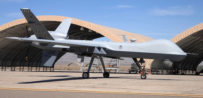 The MQ-9 Reaper taxies into Creech Air Force Base, Nev., home to the newly reactivated 432nd Wing. The 432nd Wing consists of six operations squadrons and a maintenance squadron for the Air Force fleet of 60 MQ-1 Predator and six MQ-9 Reaper unmanned aerial vehicles. (U.S. Air Force photo/Senior Airman Larry E. Reid Jr.)