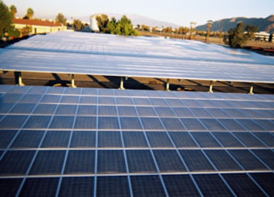 The 452nd Civil Engineer Squadron, March Air Reserve Base, recently completed a photovoltaic array project that broke ground almost one year ago. It has a capacity of 413.38 kilowatt-hours, sits atop two carports on the base and has a price tag of $4,576,753, which should be recovered in 10 years. (U.S. Air Force photo)