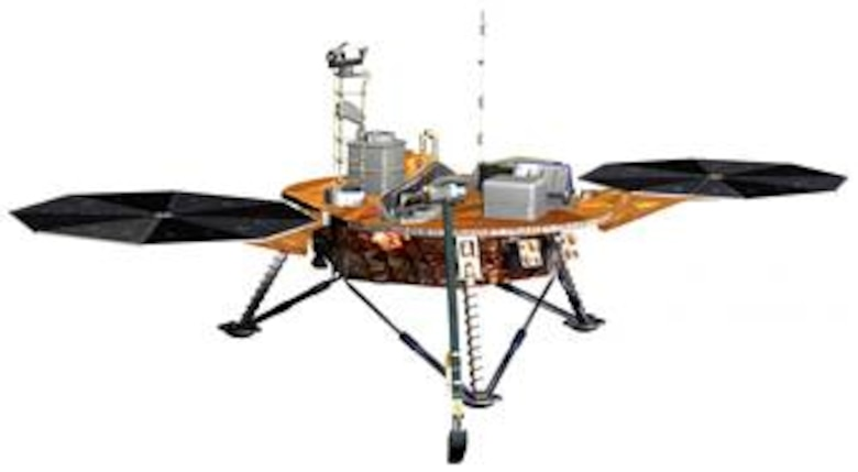 This is an artist rendition of the Phoenix lander. Phoenix is the first mission of NASA's Mars Scout Program. The spacecraft will land on the icy northern latitudes of Mars. During its approximately 90-day mission, Phoenix will dig trenches with its robotic arm into the frozen layers of water below the surface. The spacecraft will use various on-board instruments to analyze the contents of the ice and soil; all in the hopes of finding organic compounds that are necessary for life. (Courtesy graphic)