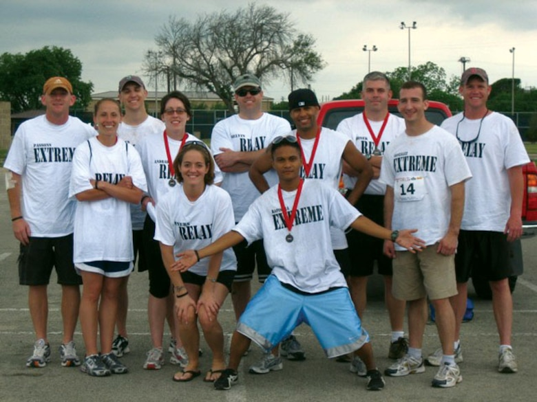"Goodfellow adventurers pose after the 2007 Laughlin Adventure Race. From left to right are (front row) Stacie Myers and Kelmer Rapisora, (middle row) Erin Crandall, Rebecca Andrade, Julio Brito and Michael Gonzalez, (back row) Ben Passons, Joel Hansen, Matt Melvin, Harlan Fronek and William ""Superman"" Roberts. (Courtesy photo)"