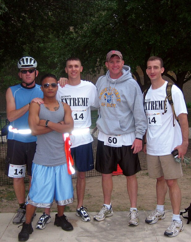 "From left to right, adventurers Ben Passons, Kelmer Rapisora, Joel Hansen, William ""Superman"" Roberts and Michael Gonzalez pose after finishing the 2007 Laughlin Adventure Race. Passons said both teams met their goals during the race. ""I had a blast,"" he added. (Courtesy photo)"