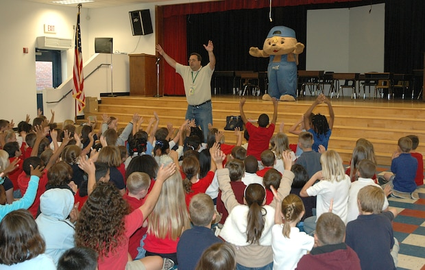 Sammy Rabbit visits the students at Tyndall Elementary May 7 to teach students the importance of saving money at an early age.