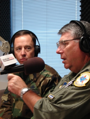 Chief Master Sgt. Tony Bishop, command chief master sergeant of Pacific Air Forces (PACAF) and Gen. Paul V. Hester, commander of PACAF, shared the Air Force and PACAF stories to Hawaii listeners live on KHVH AM 830 May 7. (Photo by 1st Lt. Renee Lee)
