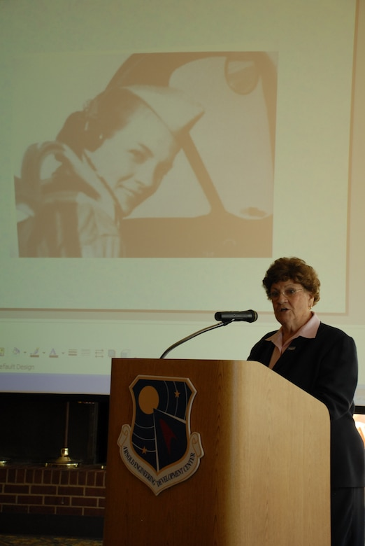 Margret Ringenberg speaks at the American Institute of Aeronautics and Astronautics lecture at the Arnold Lakeside Club at Arnold Air Force Base April 30. Mrs. Ringenberg served as a Women's Airforce Service Pilot during World War II. (Photo by Rick Goodfriend)