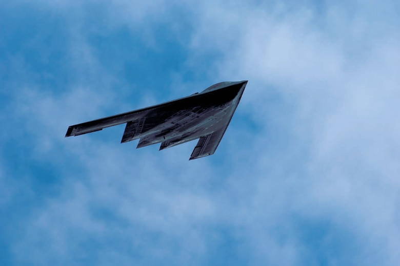 A B-2 Spirit is in flight during the CAFB Career Day Saturday. (U.S. Air Force Photo by Kenn Brown)