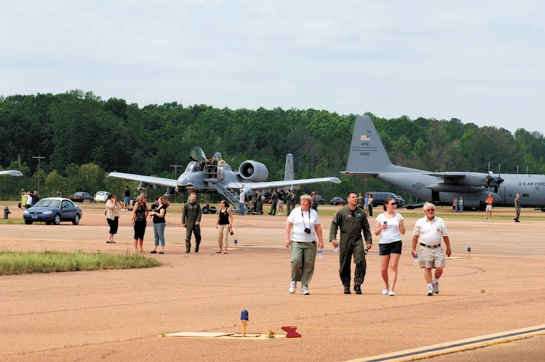 Blaze Team members explore the static displays on the SAC ramp Saturday during Career Day. A B-2 flyby and A-10 demonstration were also part of the festivites. (U.S. Air Force Photo by Kenn Brown)