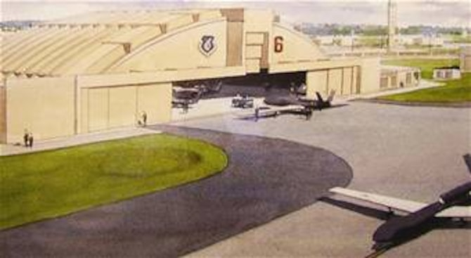 An artists rendition of the Global Hawk facility.  The 47,000 square foot building is scheduled for completion May 2009.