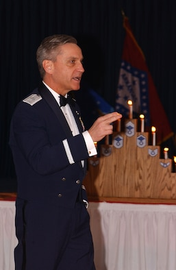 314th Airlift Wing Commander Brig. Gen. Kip Self talks to Little Rock's newest chiefs at the 2006 Chiefs Induction Ceremony. (File photo)