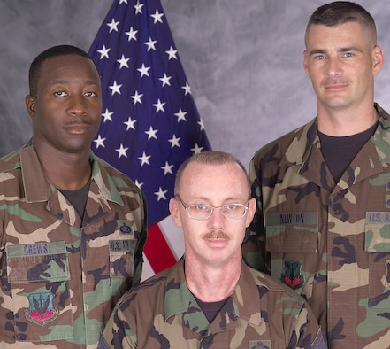 (From Left) Master Sgt. William Crews, Chief Master Sgt. Joseph Lovett and Tech. Sgt. Joseph Newton recently earned consecutive top Air Force honors as their shop was named 2006 Military Equal Opportunity Small Office of the Year. Sergeant Newton was also named the Air Force 2006 base-level MEO NCO of the Year. (Courtesy Photo)