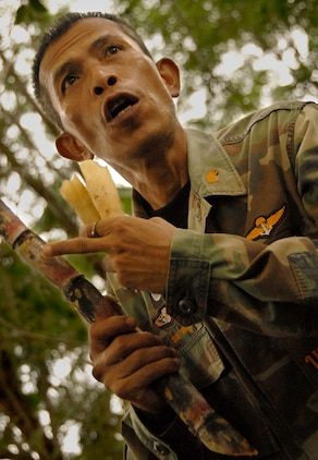 "Royal Thai Master Chief Petty Officer Pranom Yodrud, a 27-year reconnaissance man and jungle survival expert, gave Okinawa-based U.S. Marines a crash course in jungle survival May 14 at Thailand's Ban Chan Krem Training Area during Cobra Gold 2007. ""Sugar cane! Sugar cane!"" the American Marines shouted, excited to recognize one of the dozens of edible fruits, vegetables and plants Yodrud showed them. Cobra Gold is an annual, multilateral exercise, now in its 26th year, gives the U.S., Thailand and their Pacific partners skills to come together and act decisively at a moment's notice to meet any contingency that could threaten the security and stability of the region. (Official Cobra Gold 2007 Photo by: Cpl. Mark Fayloga) (Released) (Official Cobra Gold 2007 Photo by: Cpl. Mark Fayloga) (Released)"